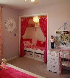 little girls, tiny bedrooms, kid closet, book nooks, kid rooms, reading nooks, little girl rooms, closet space, closet nook