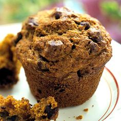 Chocolate Chunk Pumpkin Muffins, a blend of two great flavors. More pumpkin recipes: http://www.midwestliving.com/recipe/soups/pumpkin-corn-chowderil