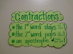 anchor chart This makes a lot of sense! I was never taught how to teach contractions, and I always get flustered when I have to teach them!
