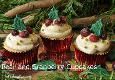 Pear and Cranberry Cupcakes