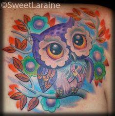 Multiple Sclerosis Owl ribbon flowers tattoo by Sweet Laraine of San Antonio, TX
