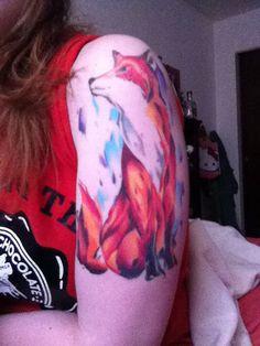 Water Color Fox Tattoo #watercolor #tattoo #fox #foxtattoo