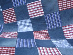 Patchwork Quilt or Rug - Recycled Denim Jeans and Checked Shirts
