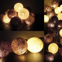 20 Big Cotton Balls Mixed Earth Brown Tone Fairy String Lights Party Patio Wedding Floor Table or Hanging Gift Home Decor Christmas Bedroom on Etsy, $11.97