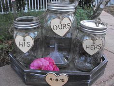 country unity sand  | Mason Jar Sand Ceremony Set HIS HERS & OURS Wedding Date Country ...