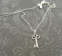 Recycled Fine silver Key necklace/Key to my heart by DariaDJewelry, $39.00