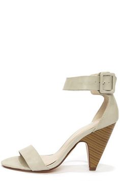 My Delicious Kiska Dove Grey Ankle Strap Cone Heels