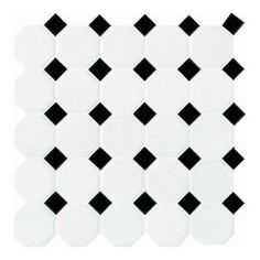White with Black Ceramic Octagon/Dot Mosaic Tile. $2.57/sq ft. For bathroom or kitchen floors. Use with white or gray grout.