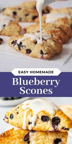 These Blueberry Scones are soft, flaky and bursting with juicy blueberries! #BlueberryScones #BlueberrySconesRecipe #SconesRecipe #SconesRecipes #SconesRecipeEasy #BrunchRecipes #BrunchIdeas #BreakfastIdeas