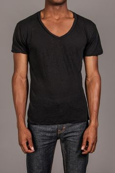 V-neck black tee and jeans...simple
