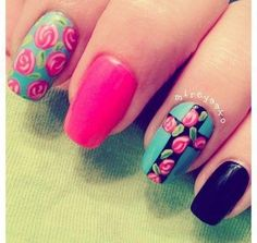 Nail Art: Rose and Cross nail art.  66 Rose Nail Art Designs