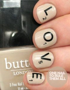 "Then and Now: Scrabble Love Nails Wraps..... lol the nail polish container says ""butt"""