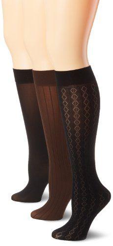 Anne Klein Women's 3 Pack Diamond Stripe Trouser Sock $13.00 (35% OFF)