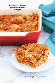 Cauliflower Alfredo Spinach Artichoke Lasagna. Vegan Nut-free Recipe | Vegan Richa