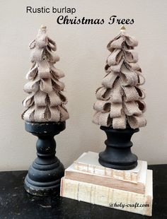 Rustic Burlap Christmas trees - Holy Craft