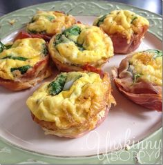 Whole30 Breakfast Recipe Ideas- Egg, spinach and prosciutto cups