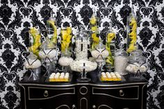 Black White and Yellow Candy Bar as a dessert table and a favor