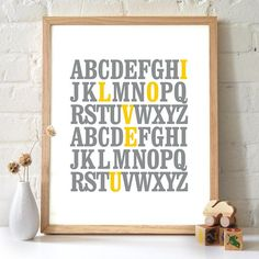 gray navy yellow baby, diy art for kids room, kid rooms, crafty gifts, framed quotes diy, baby ideas nursery craft, mustard yellow, babies rooms, abc print