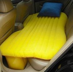 Inflatable car bed.  Cool idea.