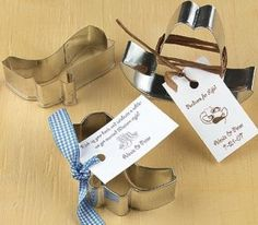 Cowboy Cookie Cutters and Favor Tags - Cowboy Cookie Cutters and Favor TagsTip your hat and kick up your heels because these cookie cutters are sure to make your shindig a roaring success! The 3 1/2″ silver-tone cookie cutters are shaped like cowboy boots and hats