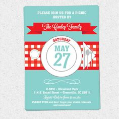 Picnic Invitation, Summer, BBQ, Barbecue, July 4th, Checkered Tablecloth, Retro, Printable DIY digital file by OhCreativeOne LLC