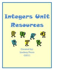 This 59 page bundle includes:Introduction to Integers Lesson, Integers Exit Ticket, Addition