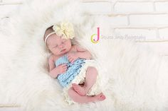 Custom Order Ruffle Crochet Romper $25 Newborn and Baby Photography props #Snipits #Snipitsink #DesiraeJonesPhotography
