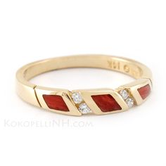 """This unique wedding band is crafted from yellow gold and red spiny oyster. """"Desert Rose - Wind"""""""