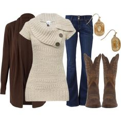 sweater, cowboy boots, cloth, style, fall outfits, winter outfits, brown boots, school outfits, country outfits