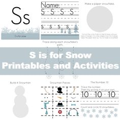 Free Preschool Printables: S is for Snow from The Life of Jennifer Dawn