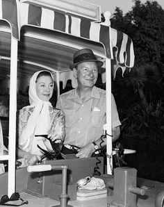 Vivien Leigh and John Gielgud visit Disneyland, 1964