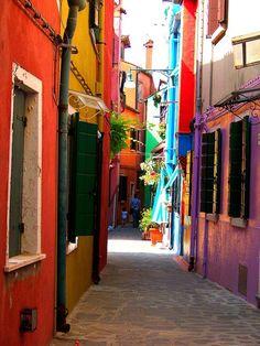 Narrow Street, Burano, Italy #burano #italy #colorful
