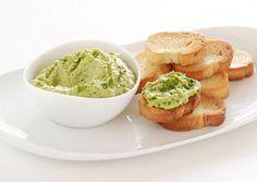 Fresh Pea Hummus Crostini with Pea Tendril Garnish