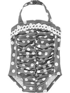 Ruched Polka-Dot Swimsuits for Baby