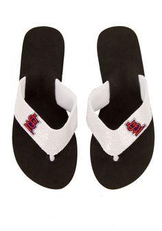 cardin white, loui cardin, sequin flip, st louis cardinals, white sequin, stl cardinals, flip flops, blues, black