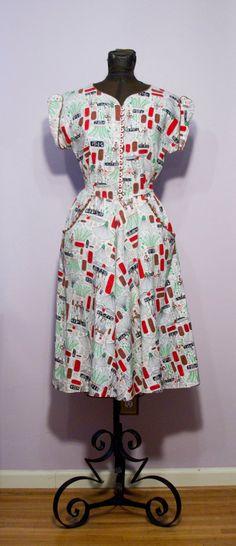 Fantastic 1940s Egyptian Novelty Print Dress.
