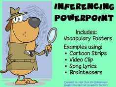 Inferencing Powerpoint: Video, Comics, Songs, & Vocabulary Posters - EVERYTHING you need to teach inference in the most engaging way!
