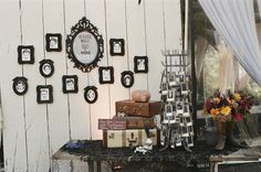 photo display from a steampunk wedding