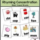 FREEBIE! Rhyming Concentration has 24 pairs of cards to match short vowel words. Each card has a picture to go along with each word. Use the cards...