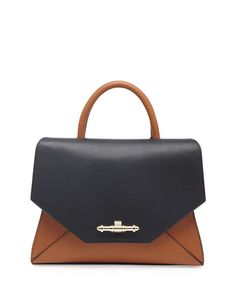 V23KL Givenchy Obsedia Small Top-Handle Flap Bag, Black/Hazel