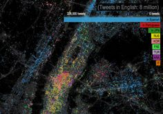 Twitter language of NYC. English is not on the map, allowing other languages to show through.