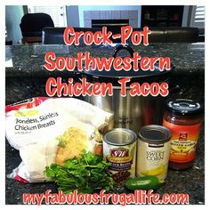 crock pot slow cooker southwestern chicken tacos - fast, delicious, easy, and cheap dinner!