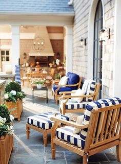 Indigo stripe outdoor decor