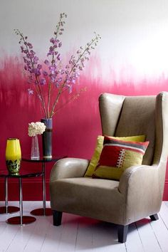 Pink/White ombre wall