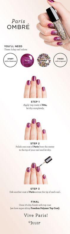 Beauty HOW TO: Paris Ombré Nail courtesy of Julep. #Sephora #SephoraNailspotting #nails #nailpolish
