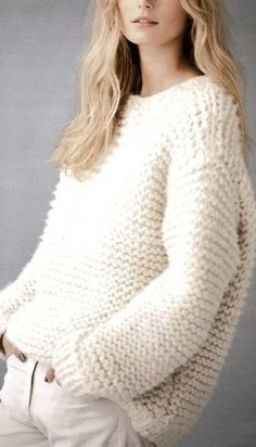 chunky garter stitch knit sweater