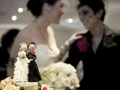 Cool bride and bride wedding topper from Pink Cloud 9  Wedding Planning. Based in LA.