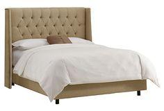 Alexander Wingback Tufted Bed, Sandstone on OneKingsLane.com
