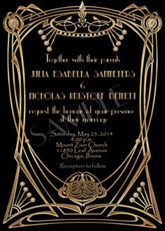 The Great Gatsby Wedding Invitation Suite with RSVP Card - Printable
