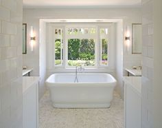 Sanctuary Architects: Master bathroom with Waterworks Empire Freestanding Rectangular Composite Bathtub and ...
